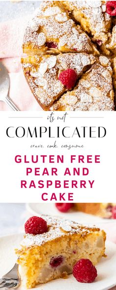 This Gluten-Free Pear and Raspberry Cake is a must-try for those who want a fantastic cake. Juicy pears and tangy raspberries add to a moist, almond batter. Tray Bake Recipes, Pear Recipes, Easy Cake Recipes, Almond Recipes, Baking Recipes, Dessert Recipes, Gluten Free Cakes, Gluten Free Baking, Gluten Free Desserts