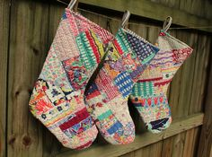 Vintage Quilt Christmas Stockings - Holiday Stocking - Patchwork - Number 6. $59.50, via Etsy.