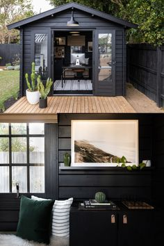 Garden Home Office, Shed Office, Backyard Office, Backyard House, Backyard Studio, Backyard Sheds, Backyard Hammock, Backyard Cottage, Backyard Patio Designs