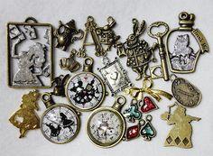 Alice in Wonderland theme charms pendants - 21 pieces