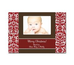 Photo christmas card- red damask  SweetSmileDesigns