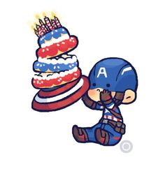 chibi Steve and birthday cake by thegirlinthebyakko Captain America Films, Happy Birthday Steve, Bucky And Steve, Romanogers, Bucky Barnes, Disney Art, Smurfs, Chibi, Art Drawings