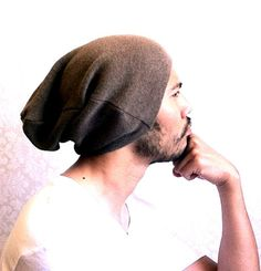 Mens Beanie slouch Hat Men Clothes unisex Brown Tan by MissTopKnot, $28.50