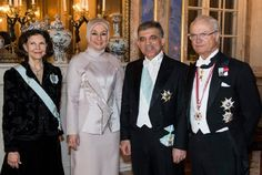 The Queen, First Lady of Turkey Hayrünnisa Gül, Turkey's President Abdullah Gül and The King at the gala dinner at the Royal Palace of Stockholm, 11 March 2013