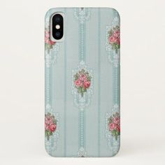 Shop Elegant Girly Pink Roses on Mint Background Case-Mate iPhone Case created by GrafixMom. Iphone Background Vintage, Mint Background, Vintage Floral, French Vintage, Iphone 11, Iphone Cases, Mint Color, Big And Beautiful, Pink Roses
