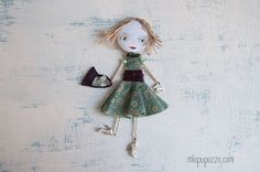 Art Doll Brooch Summer Girl mixed media collage by miopupazzo
