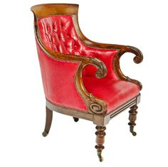 William IV rosewood library chair in red leather upholstery, England 1830-1835