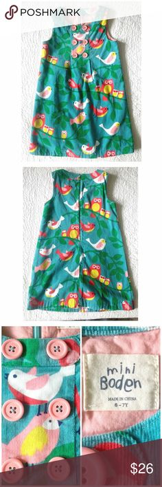 Mini Boden Corduroy Bird & Owl Dress New listing! A gorgeous corduroy dress from Mini Boden. Great owl/bird print. Zips up the back. Lined. Great condition! Any questions let me know! Size 6/7. Mini Boden Dresses