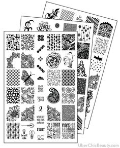 UberChic Nail Stamp Plates - Collection 3 - Includes 3 Unique Nail Stamp Plates
