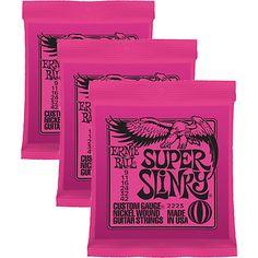 $10.00   Ernie Ball 2223 Nickel Super Slinky Pink Electric Guitar Strings 3 Pack