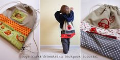 I was looking for a fun something to sew for my boys when I came across this boy's bag tutorial from Noodlehead.  This would be great to take along on those family trips.  Here is the link:  http://www.noodle-head.com/2010/02/boys-drawstring-backpack-from-khaki.html