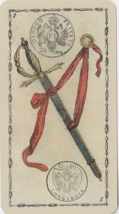 ace of swords    Ancient Tarot of Lombardy deck  Milan, Italy  1810