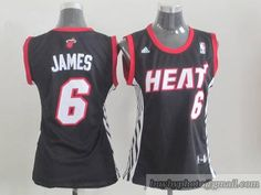 Heat #6 LeBron James Black Women's Road Embroidered NBA Jersey
