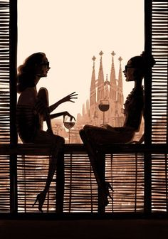 Illustration by Jordi Labanda, with Gaudí's Sagrada Familia in the background. Barcelona is a lovely city, even when not the main focal point. :) #NaaiAntwerp