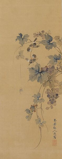Japanese Scroll Painting Sparrows in Grapes by Shunkin