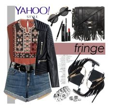 """""""Yahoo Style NYFW Trend: Fringe"""" by diesnatalis ❤ liked on Polyvore featuring мода, Dsquared2, Isabel Marant, Proenza Schouler, rag & bone/JEAN, Balmain, NARS Cosmetics, Laura Geller, Clarins и Marc by Marc Jacobs"""