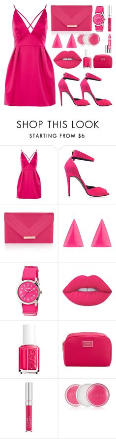 """pink is love for girls"" by jusramurtezani23 ❤ liked on Polyvore featuring Topshop, Pierre Hardy, Accessorize, Alexis Bittar, Crayo, Lime Crime, Essie, MANGO and Clinique"