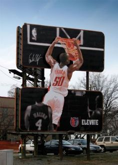 #Elevate #basketball #OOH Great Ads, Outdoor Signs, Billboard, Advertising, Activities, Marketing, Creative, Sports, Mixed Media