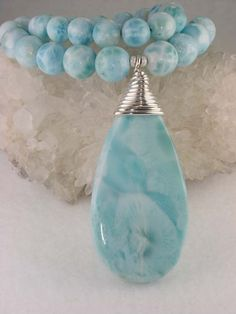 Natural Larimar Cabochon Necklace Larimar Crystal Pendant Brecelet Jewelry Supplies Larimar Beads Larimar Stone For Wire-wrap DIY Ring