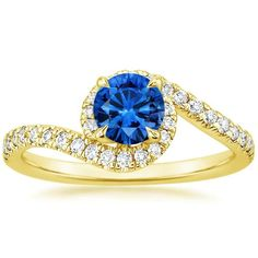 18K Yellow Gold Sapphire Venus Diamond Ring (1/3 ct. tw.) from Brilliant Earth