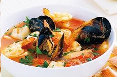 Seafood bouillabaisse -- This healthy French-style seafood soup is tasty and refreshing too. Bouillabaisse Marseille, Seafood Bouillabaisse, Bouillabaisse Recipe, Seafood Stew, Fish Recipes, Seafood Recipes, Soup Recipes, Cooking Recipes, Healthy Recipes