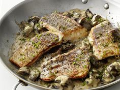 Striped Bass with Mushrooms Recipe : Food Network Kitchens : Food Network - FoodNetwork.com