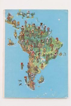 Julia Rosa Clark, Mapwork (South America – Commodities & Dispensables), 2003  collage on map