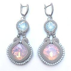 """Soutache earrings """"Gray Elegance"""", dangle earrings, long earrings, stud earrings, soutache jewelry"""