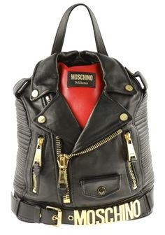 ecfb55a2c6900 Moschino Biker Jacket Black Leather Backpack - Tradesy Black Leather  Backpack, Smooth Leather, Red