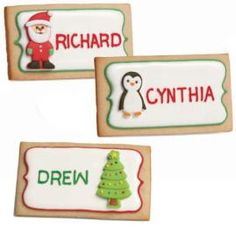 These cookie place cards are really easy to make. The cute holiday icing decorations are all handmade…just not by you (we won't tell if you won't!).