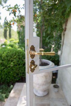 unlacquered brass hardware at Patina Farm Home Design, Design Design, Front Door Handles, Front Doors, Door Handles Vintage, Front Door Hardware, Vintage Doors, Antique Doors, Home Hardware
