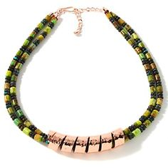 """Jay King Green Turquoise Copper Twist 19-1/4"""" Necklace at HSN.com."""