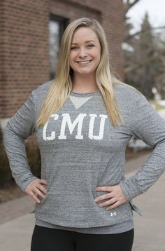Under Armour CMU Ladies Peppered Gray Crew Central Michigan