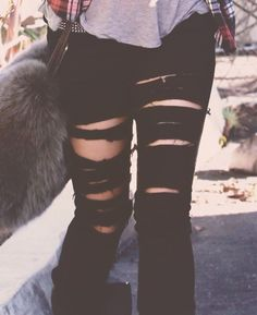 Ripped jeans are the way to go. <3