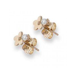 Kolczyki złote kwiatki z cyrkonią #PamiatkaChrztu #PrezentNaChrzciny #KolczykiDlaDziewczynki