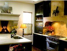 Fireplace in kitchen | houzz.com