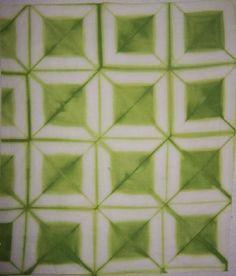 Diagonal fold itajime | by Tela shibori. / What a great itajime pattern!