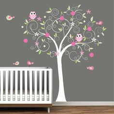 Childrens Wall Decal Swirl Tree with Branch Owls by Modernwalls, $129.00