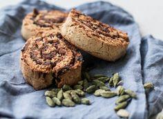 Sekoita pussillinen kuivahiivaa 1,5dl:aan mantelimaitoa. Vatkaa joukkoon 1muna, 0,5dl oliiviöljyä ja 1/2tl suolaa. lisää myös 1dl tapiokatärkkelystä,1dl tattarijauhoa, 2,5dl riisijauhoa ja 1/2tl ksantaania.täyte: poista 15 taatelista kivet ja sekoita niistä tahnaa. Sekoita taatelitahnaan 2 rklkanelia ja 1tl kardemummaa. Kaulitse taikinasta elmukelmun välissä levy ja levitä sen päälle täyte. Rullaa taikina elmukelmun avulla ja leikkaa siitä noin 2 cm paksuisia kiekkoja. Paista kiekkoja 15min…