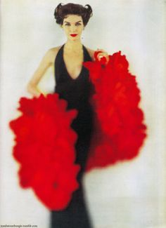 1960 Black Evening Dress and Red Ruffled Wrap