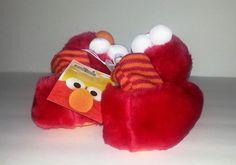 Sesame Street Elmo Red Children's Plush Striped Sock Top Slippers Size7/8 #SesameStreet #Slippers