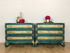 Bedside Tables, Side Tables, Asian Tables, Chest of Drawers, Turquoise Chest of Drawers, Chinese Furniture, Painted Bedside Tables