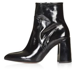 TopShop Hamptons Flared Heel Boots ($125) ❤ liked on Polyvore featuring shoes, boots, black, high heel ankle boots, black high heel shoes, short high heel boots, ankle boots and black ankle bootie