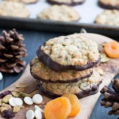 Chewy oatmeal cookies filled with pistachios, cranberries, white chocolate and apricots then dipped in dark chocolate! Butter Spritz Cookies, Vanilla Cookies, All Butter Pie Crust, Butter Pecan, Oatmeal Cups, Oatmeal Cookies, Chocolate Whipped Cream, White Chocolate, Chocolate Oatmeal