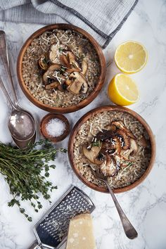 "Mushroom, buckwheat and garlic ""risotto"" - looks great!"