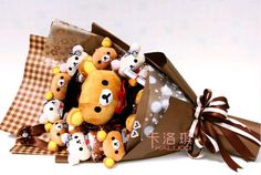 New Cartoon Rilakkuma easily bear bouquet birthday bouquet doll doll bouquets bouquet graduation gift/Others - 65daigou