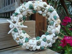 AZ Life and Style -Chic Home Decorating Ideas, Entertaining, Recipes and more: Coastal Decor - Vintage Shabby Chic Beach House Decorations Coastal Christmas Decor, Nautical Christmas, Beach Christmas, Christmas Wreaths, Christmas Ideas, Christmas Decorations, Southern Christmas, Christmas Displays, Christmas Things