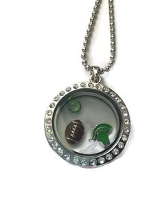 """MSU SPARTAN Necklace with floating locket. Approx size for ball and chain is 30"""""""
