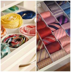 Instead of hanging, organize ties in drawer! :-)   (How to organize ties for him - Craftionary)