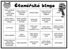 Čtenářské bingo Guided Reading Activities, Bingo, Grammar, Montessori, Homeschool, English, Teaching, Education, Books
